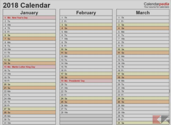 Modern Quarterly Calendar Template 2015 Picture Collection