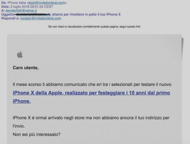 """New email phishing with a fake sender """"iPhone It    