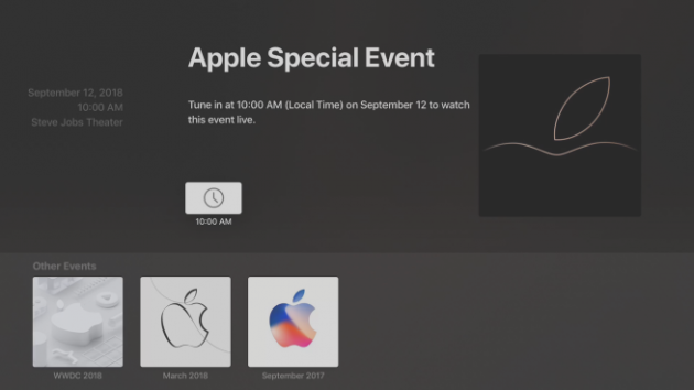 The app Events on Apple TV update for keynote Sept