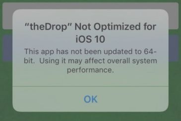 IOS 10 warns users when opening the app is not 64-bit