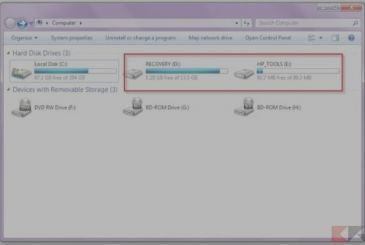 Reset, recovery partition and recovery of a laptop PC