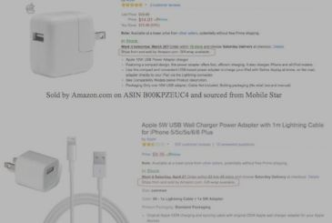 "Apple complaint to an Amazon seller for the goods, ""counterfeit"""