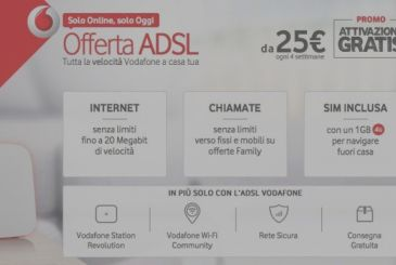 Only for today, free activation and saving of 192€ on Vodafone offers ADSL and Fiber