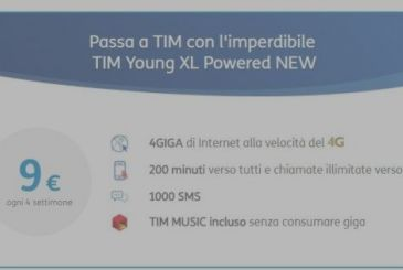 TIM Young XL: 200 minutes (TIM unlimited), 1000 SMS and 4 GB to 9€