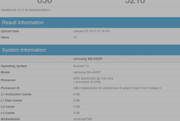 Samsung Galaxy A5 (2016) tested with Android 7.0 Nougat