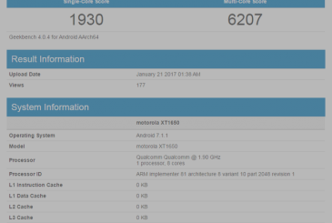 Motorcycle Z 2017 with a Qualcomm Snapdragon 835, shows up on Geekbench