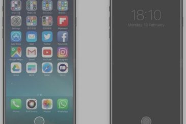 "IPhone 8 with a Home button the virtual and the ""Function Area"" – Concept"