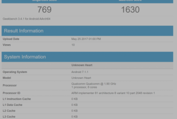 Nokia 9, shows up on Geekbench with 8gb of RAM