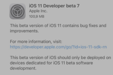 Apple releases iOS 11 Beta 7 to developers!