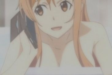 Sword Art Online Asuna breast naked in the DVD of the film Ordinal Scales