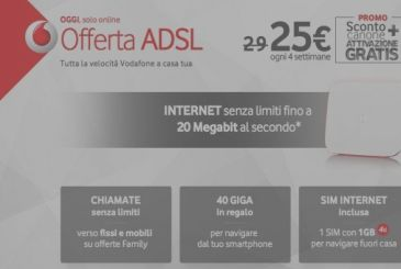Vodafone, today-only price blocked and free activation on all offers ADSL and Fiber