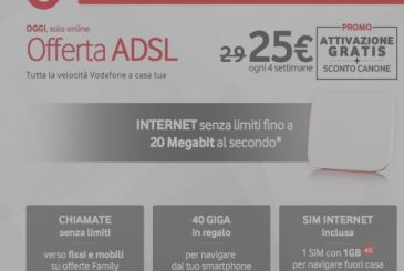 Vodafone ADSL, only for today, off for always and free activation on all offers