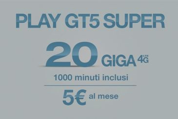 Three launches Play GT5 SUPER: 20 GB + 1000 minutes at only 5€