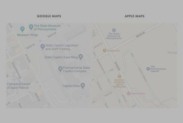 Maps and details, a comparison between Apple and Google