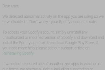 Spotify takes action against the versions hackerate of the app