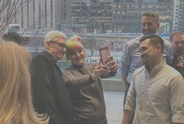 Tim Cook at the Apple Store Michigan Avenue Chicago for the event, Teacher Tuesday