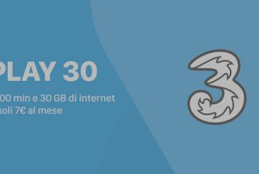 Three launches new PLAY 30, which offers 30GB of internet traffic and 1000 minutes at only€ 7 per month!