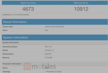 On the Geekbench data, the upcoming iPhone 11: iOS 12, and 4GB of RAM