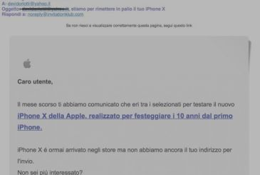"New email phishing with a fake sender ""iPhone Italia"""