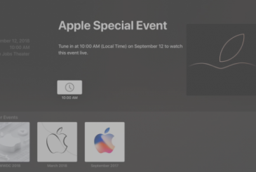 The app Events on Apple TV update for keynote September 12