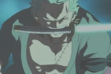 One Piece: Oda draws out the swords to Zoro in humanoid forms