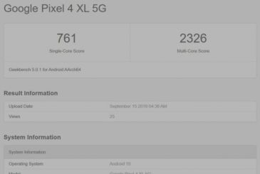 The variant 5G of the Google Pixel 4 XL will have 8 GB of RAM