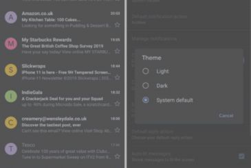 Gmail update with support for the Dark Mode
