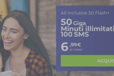 Wind All Inclusive 50 Flash+ offers 50 Gigs, unlimited minutes and 100 SMS for 6.99 euros per month