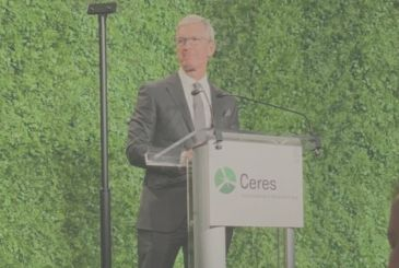 Tim Cook speaks about climate change at the event on sustainability in New York city